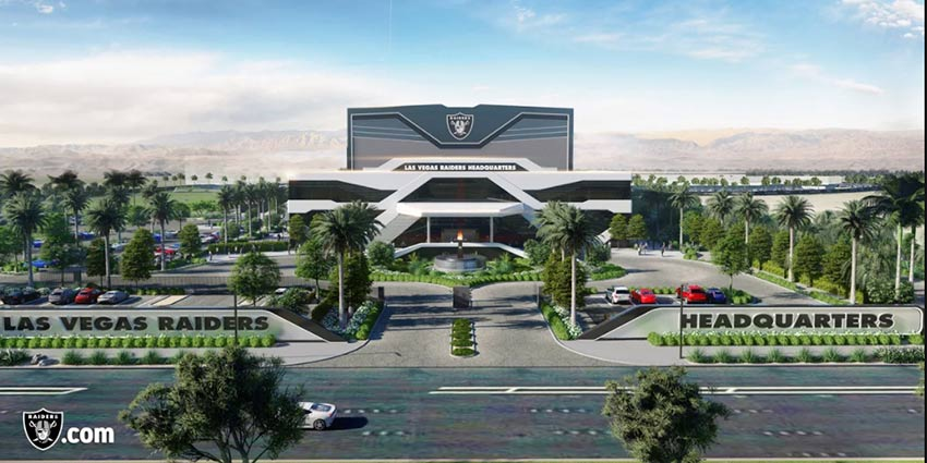 render of las vegas raiders practice facility