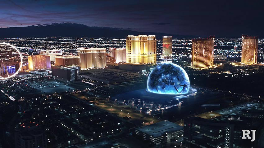 MSG Sphere on Las Vegas Strip - render